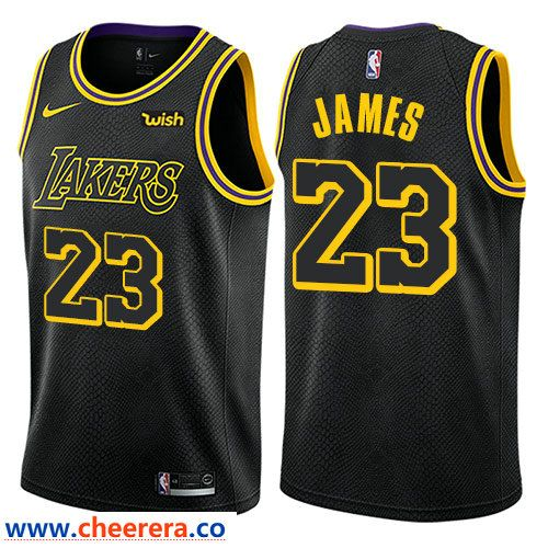 86a6e85a2 Men s Nike Los Angeles Lakers  23 LeBron James Black NBA Swingman City  Edition Jersey