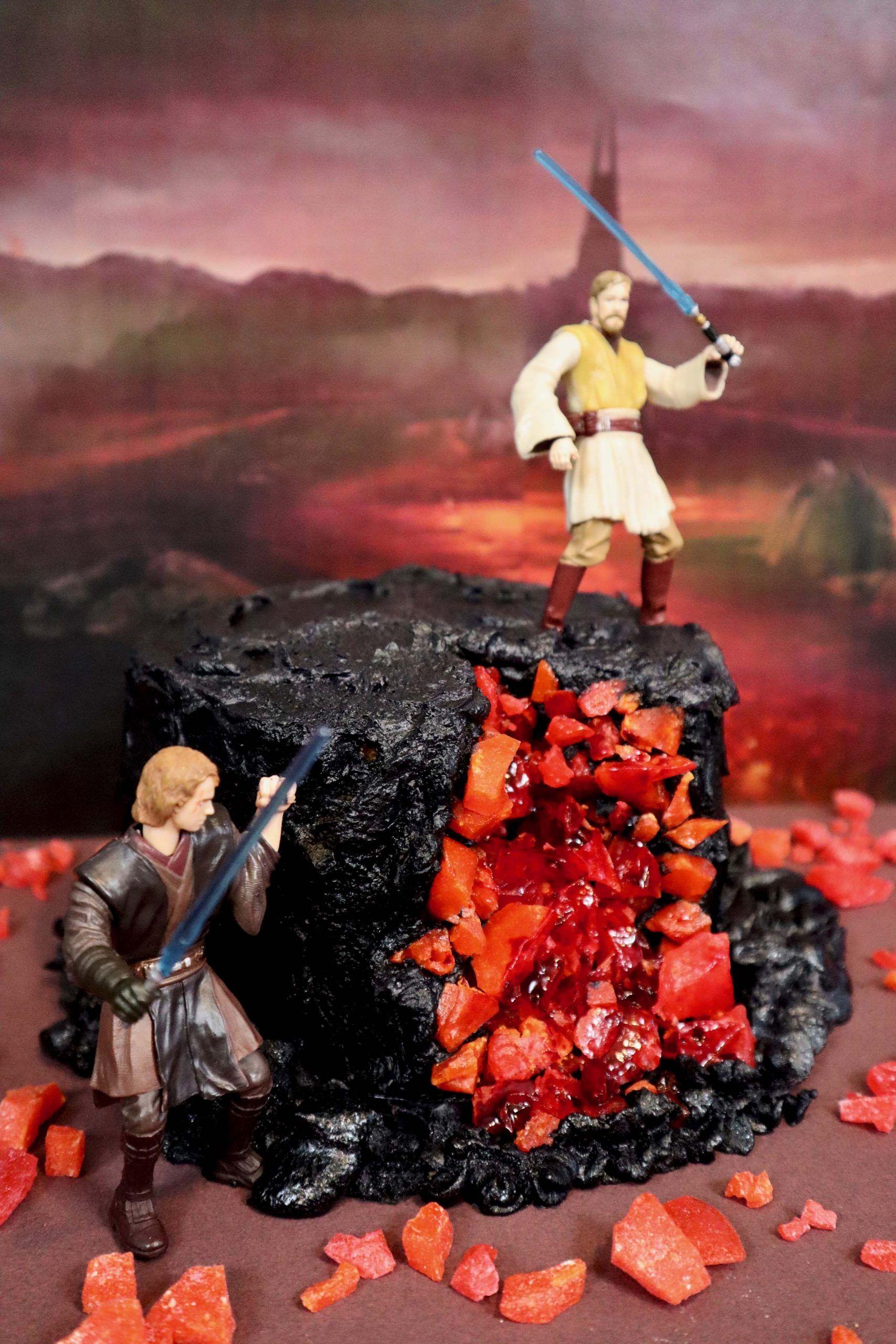 Obi Wan And Anakin Mustafar Cake Inspired By Star Wars Revenge Of The Sith Star Wars Baking Star Wars Cake Obi Wan