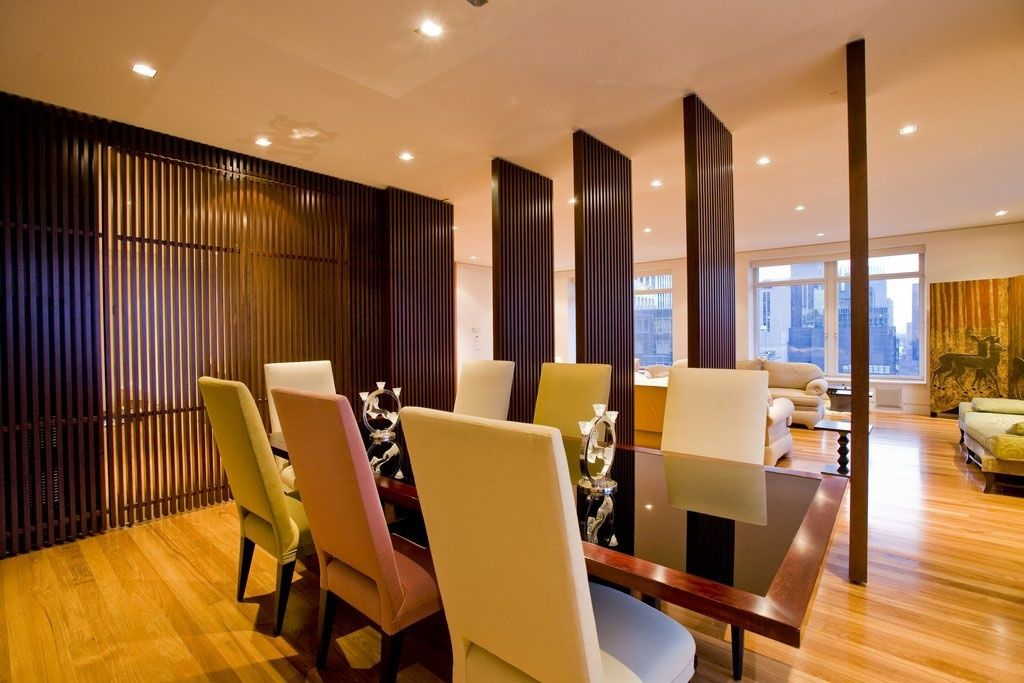 Modern Dining Room Design With Revolving Door Panels Dividers