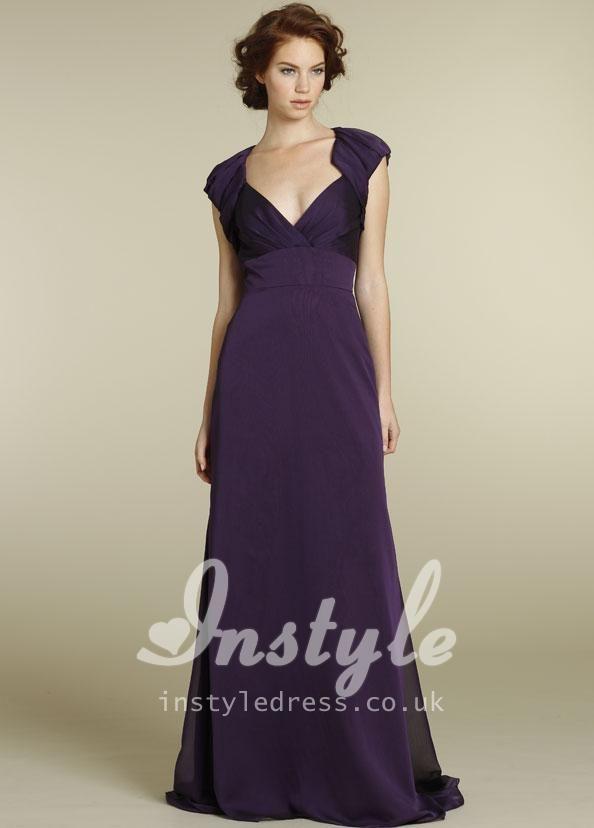 plum chiffon v neck floor length evening dress uk with bolero ...