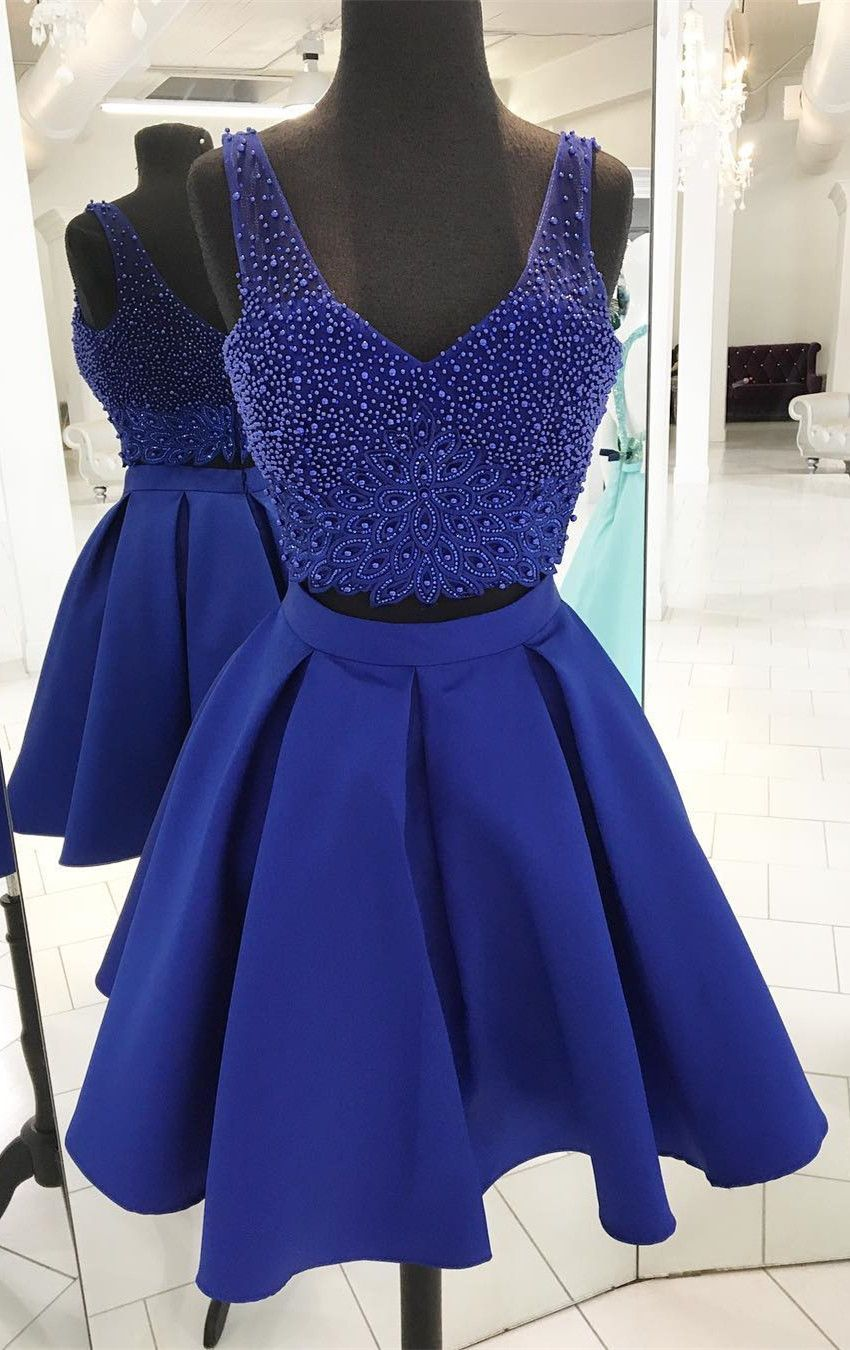 Two piece short royal blue tulle homecoming dress modsele dress