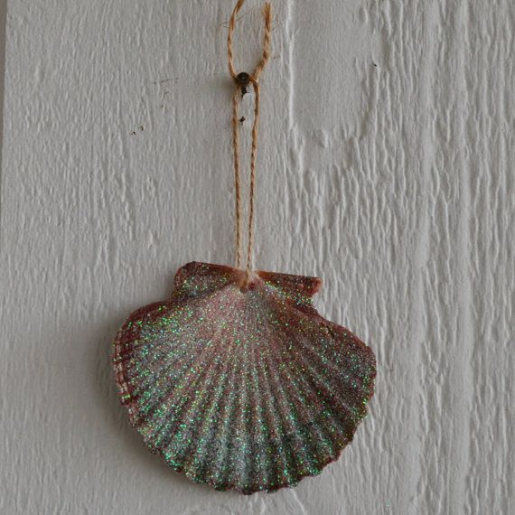 Sparkly Seashell Ornament by OvercastStitch on Etsy
