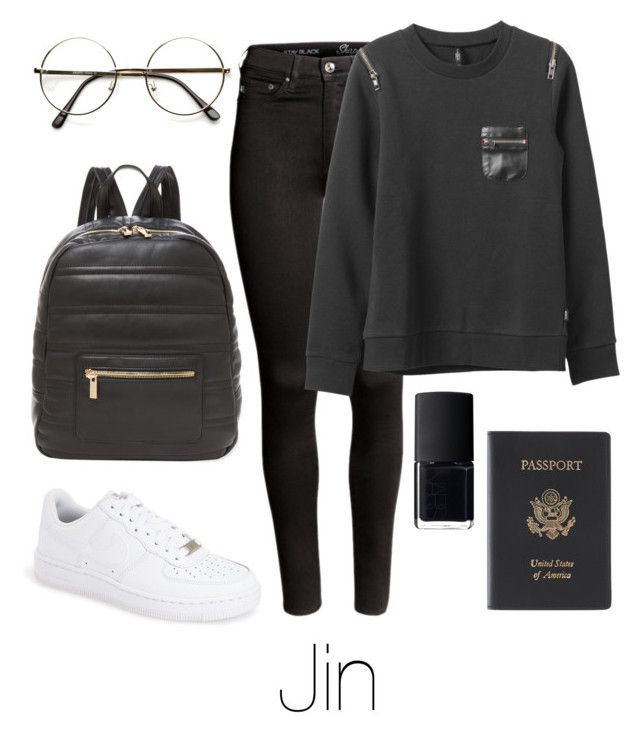 """Airport Fashion: Jin"" by btsoutfits ❤ liked on Polyvore featuring H&M, RVCA, NIKE, Deux Lux, NARS Cosmetics and Royce Leather"