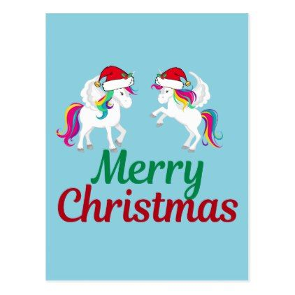 cute merry christmas unicorn postcard merry christmas postcards postal family xmas card holidays diy personalize