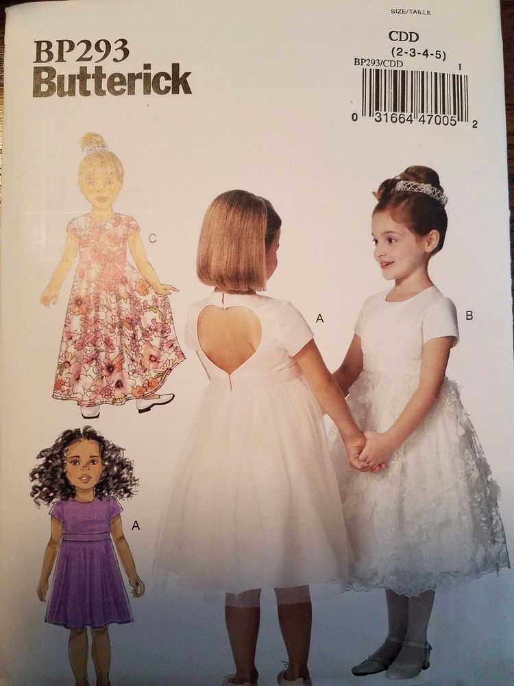 10ea57309a885 Butterick Pattern BP293   B6445 sizes 2-5 Children s Girls  Dresses 3 styles