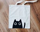 MEOW TOTE BAG cat bag cat lover cat gifts cat lady personalized bag hand p