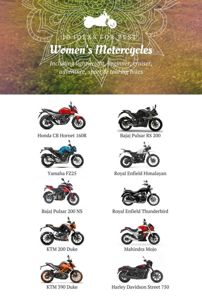 A Poster With 10 Best Motorcycles Form Women In India Best