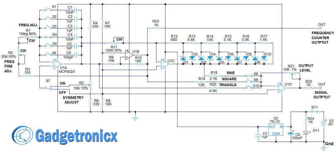 function generator circuit opamp jpg 1100 501 electronic rh pinterest com How a Generator Works Diagram Function Generator Schematic