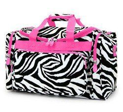 7c1e28d967 Hot Pink Trim Zebra Print Duffle Gym Dance Cheer Pageant Travel Carry On Bag