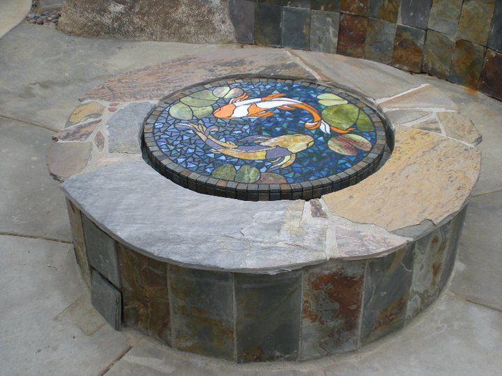 Glass mosaic fire pit cover by Melinda Sandefur  Glass