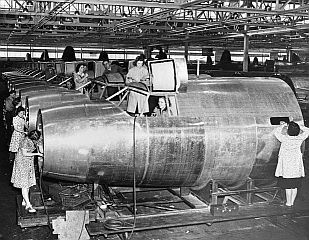 Women at Douglas aircraft plant during WWII.