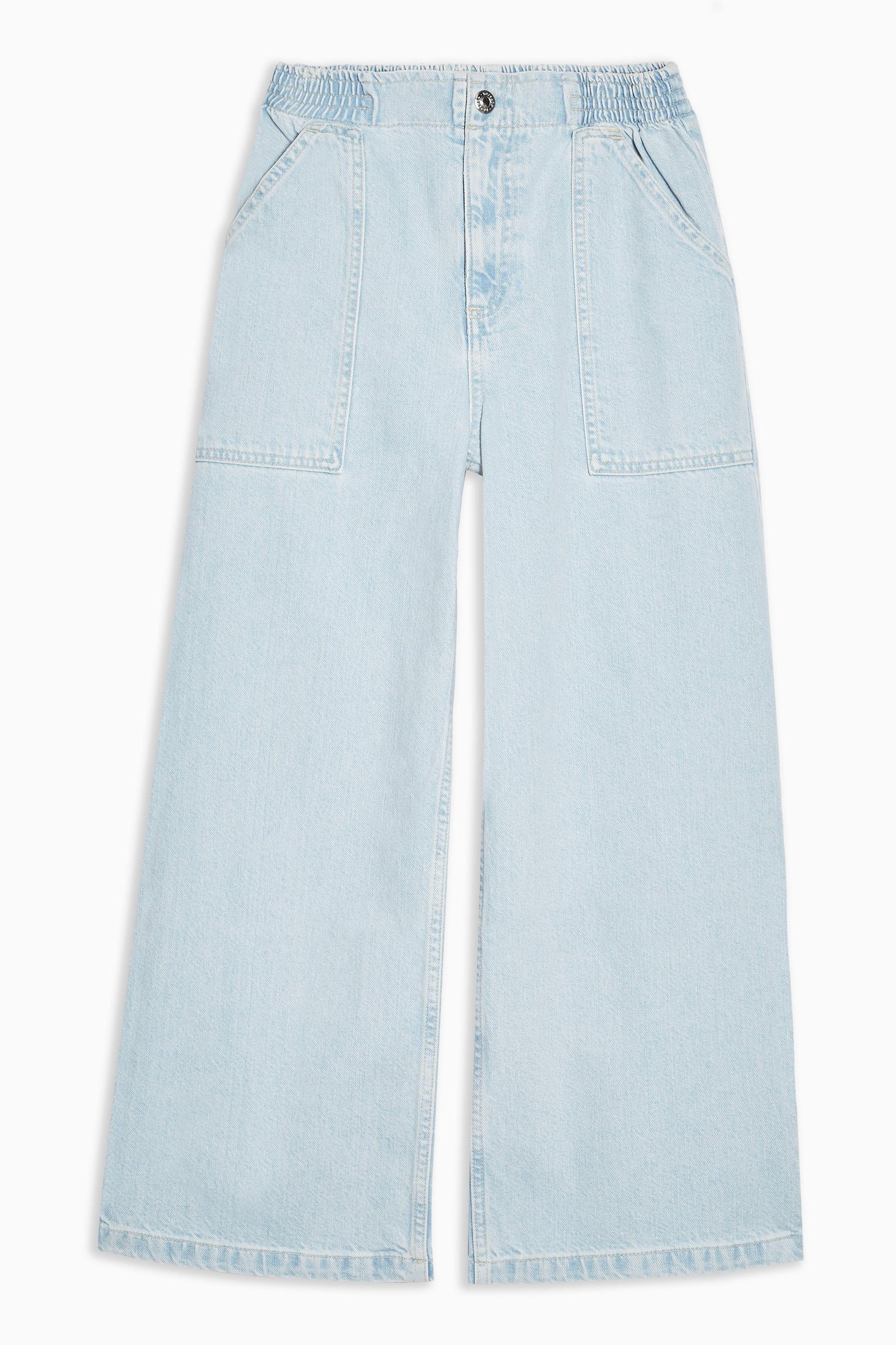 683808bcc6ef Bleach Wash Elastic Waist Crop Jeans   outfits   Denim skirt, Jeans ...