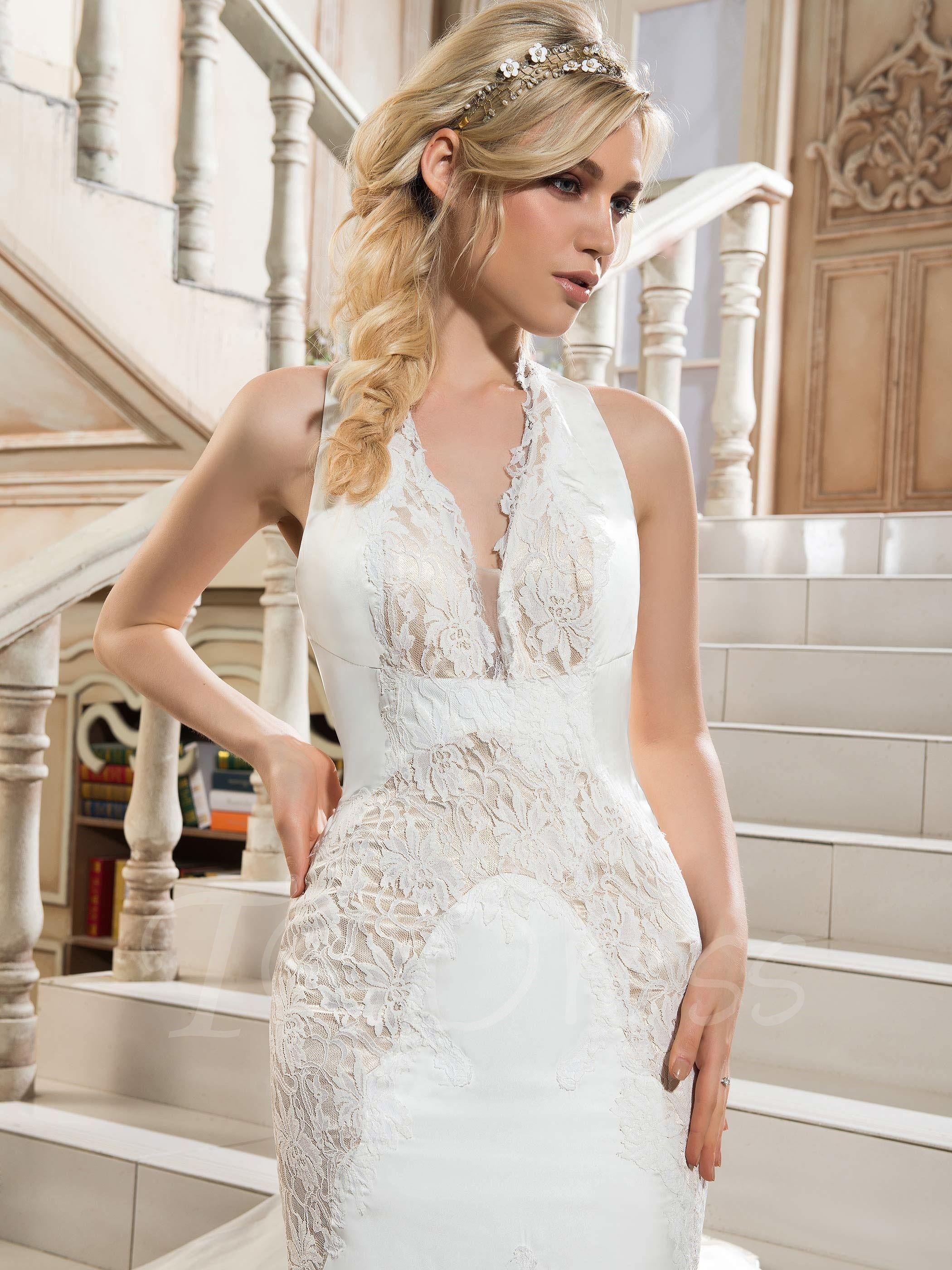 Halter lace backless mermaid chapel train wedding dress