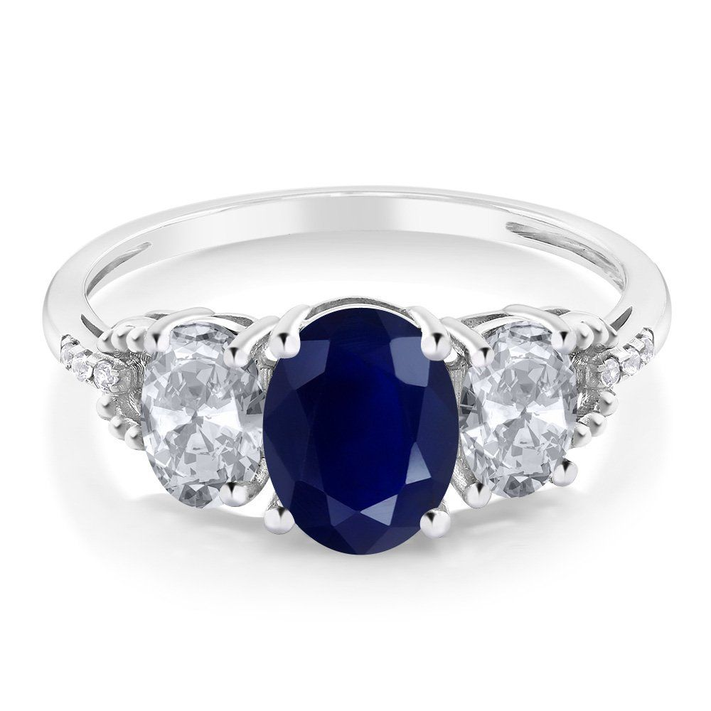 10k White Gold Blue Sapphire White Topaz And Diamond Accent 3 Stone Women S Engagement Ring 2 84 Ctw Available In Size 5 6 7 Engagement Rings Sapphire Diamond Sapphire