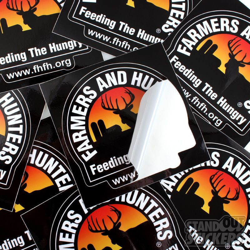FARMERS AND HUNTERS FHFH SQUARE CUSTOM VINYL STICKERS WITH KISSCUT - Guitar custom vinyl stickers