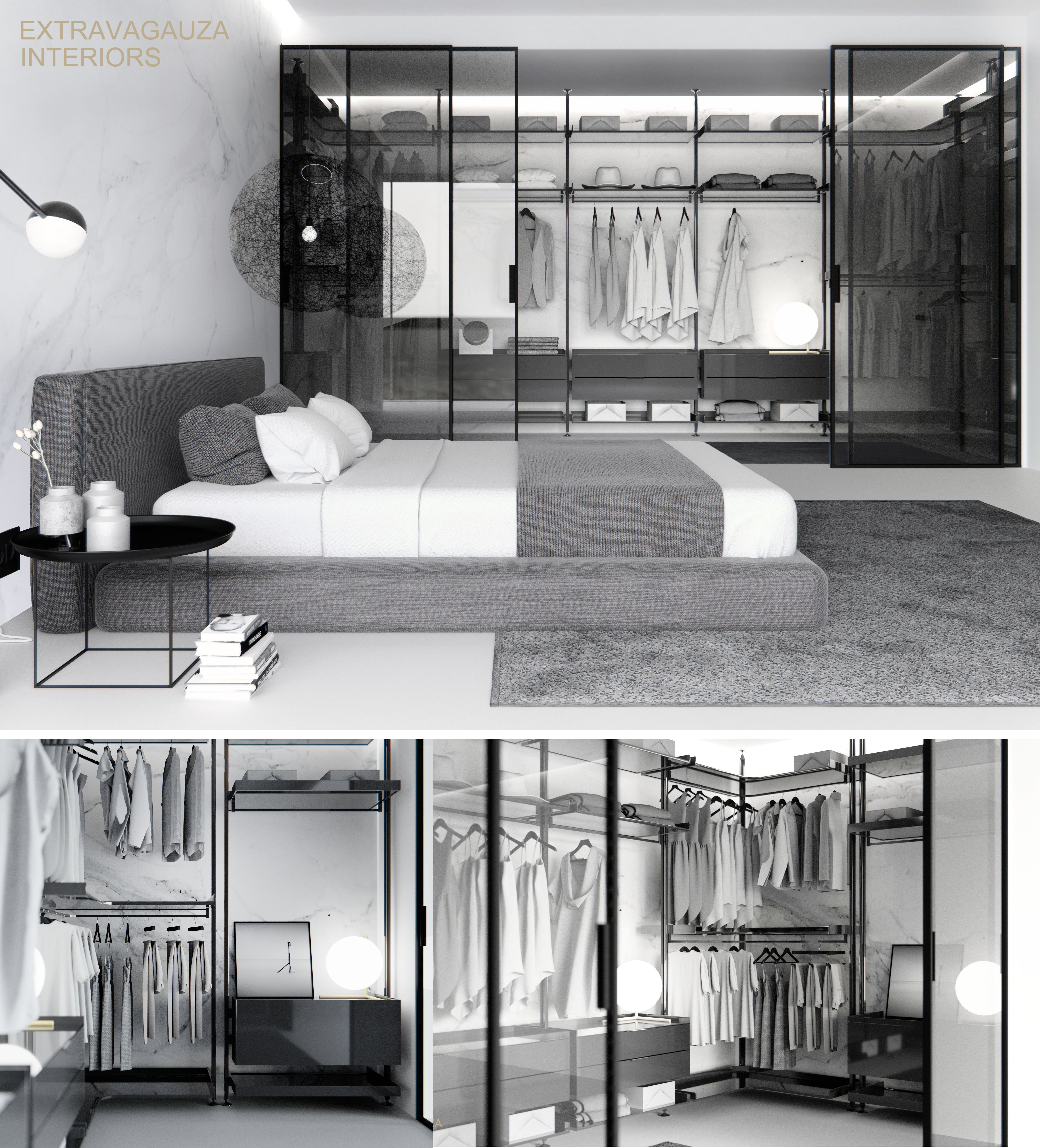 Extravagauza Interiors | Contemporary minimalist bedroom design  www.extravagauza.co.uk