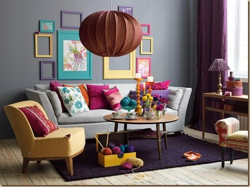 Colorful living or family room with gray walls.