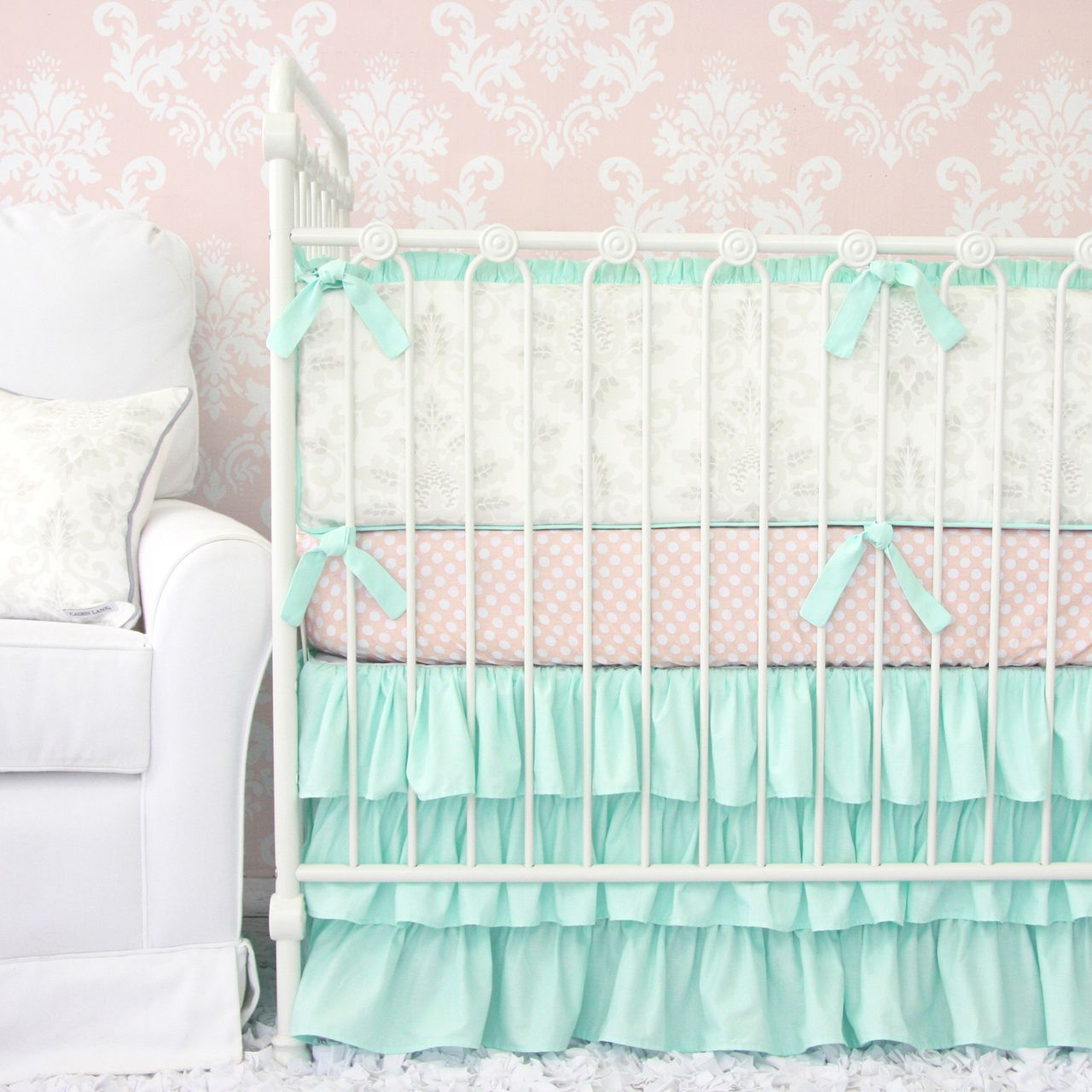 Love This Caden Lane Lovely Mint Damask Baby Bedding Perfect For