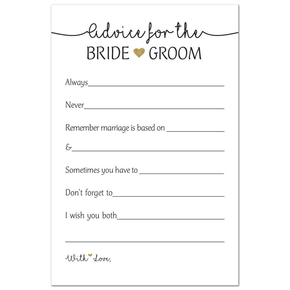 48 Gold Heart Advice Cards For Bride Groom Wedding Advice Marriage Advice Newlywed Advice Cs189sinzyl Advice For Newlyweds Advice Cards Marriage Advice