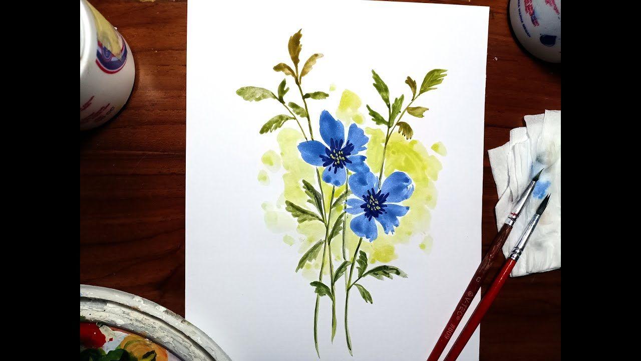Cara Mudah Melukis Bunga Menggunakan Cat Air Lukisan Bunga Cat Air Lukisan