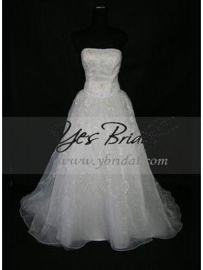 Ball Gown Strapless Cathedral Train Organza Wedding Dress WBG0074