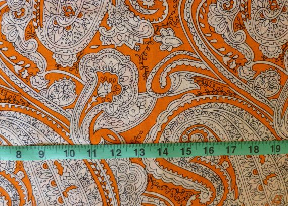 Bright Orange, White, And Black Large Scale Paisley Print