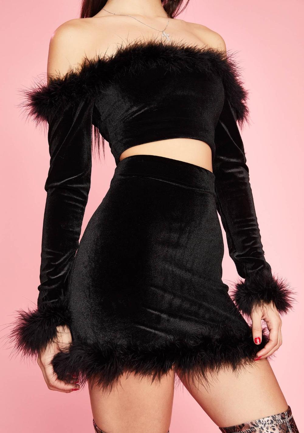 Sugar Thrillz Filthy Femme Velvet Mini Skirt Black