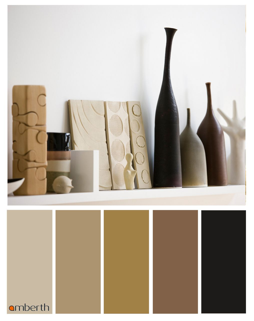 neutral colour palette for interior design inspiration with dark and soft  brown furniture