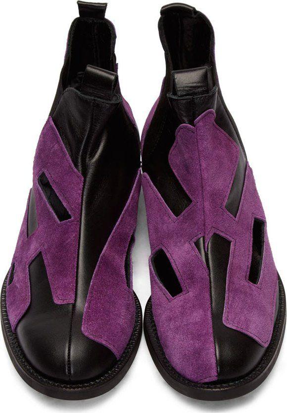 9064977fd4e1 Comme des Garçons Homme Plus Purple Suede Cut-Out Chelsea Boots ...