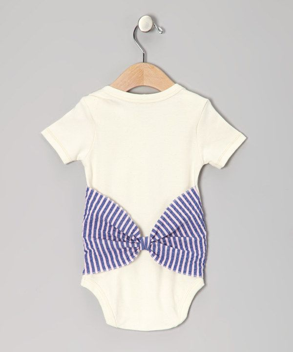 Take a look at this l.parris Natural & Purple Stripe Bum Bow Organic Bodysuit on zulily today!