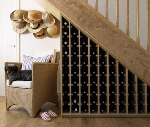Home Interior : Space Saving Under Staircase Ideas With Triangular Wooden  Under Stair Rack Design Striking Under Stairs Wine Storage Design Ideas  Under ...