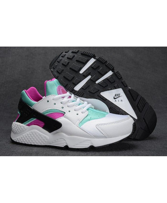 39ada39404 Nike Air Huarache Junior Black White Pink Green Trainers | nike ...