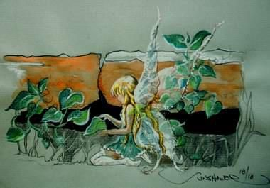 Fairy tending the vine. Looking far and wide to find out who made this.