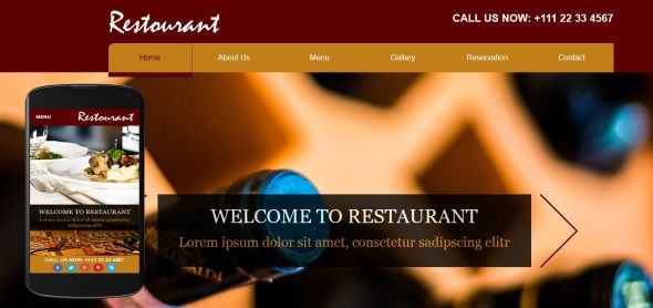 A free restaurant template for adobe muse, comes with custom