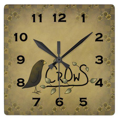 Primitive Country Crow Wall Clock Zazzle Com Country Primitive Wall Clock Clock
