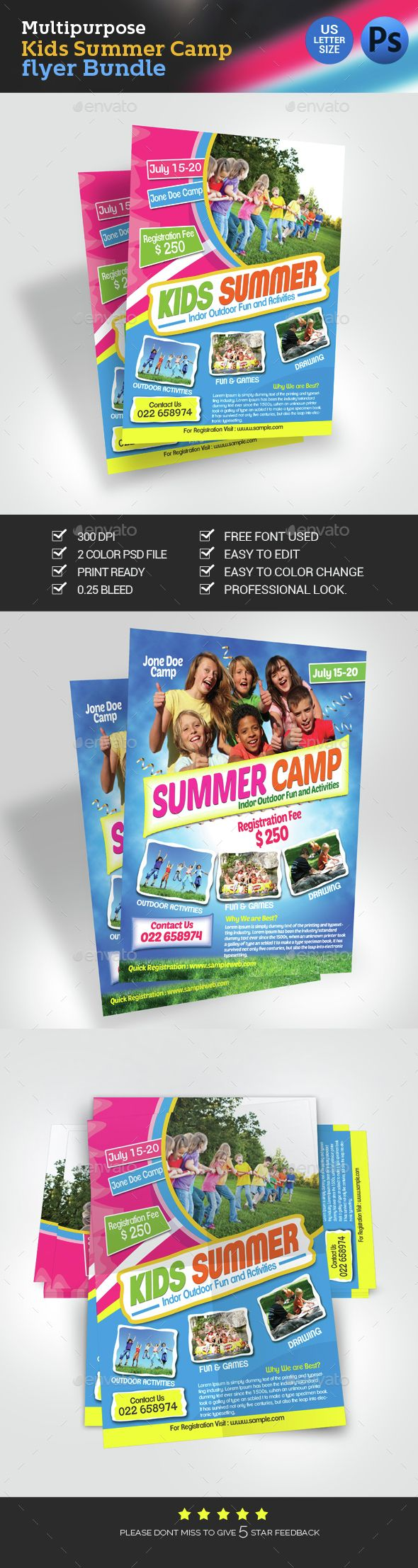 Kids Summer Camp Flyer Bundle  Flyer Template Template And Print