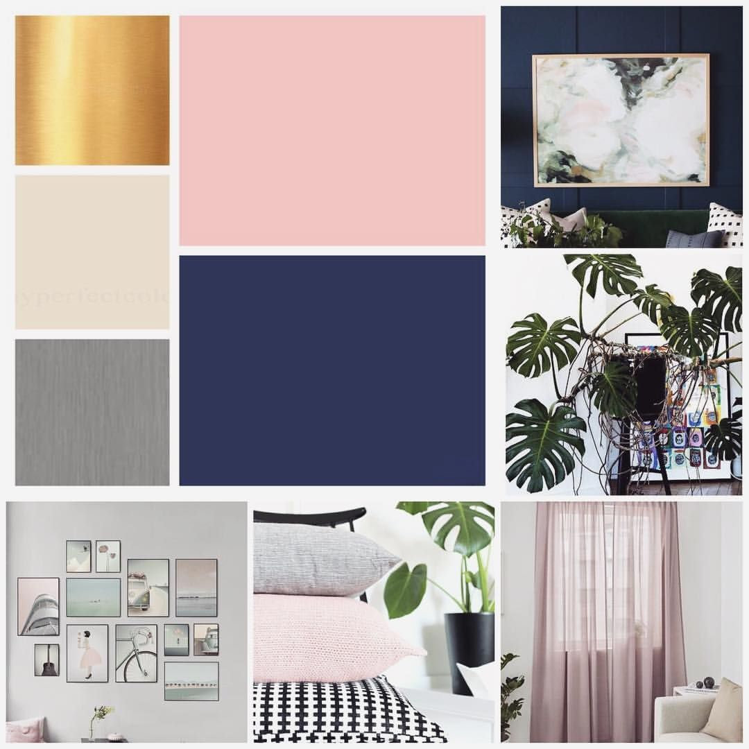 Blush Pink Blue And Gold Color Palette Home Interior Decoration