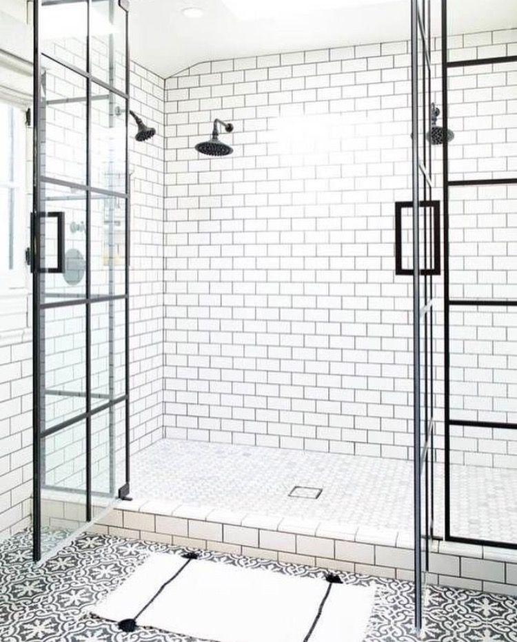 pattern floor tile, white subway tile shower with dark grout ...