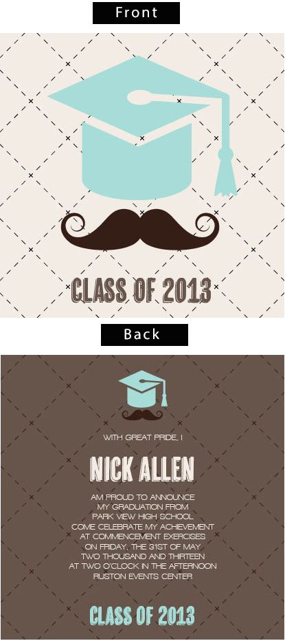 mustache cap double sided graduation announcements invitations