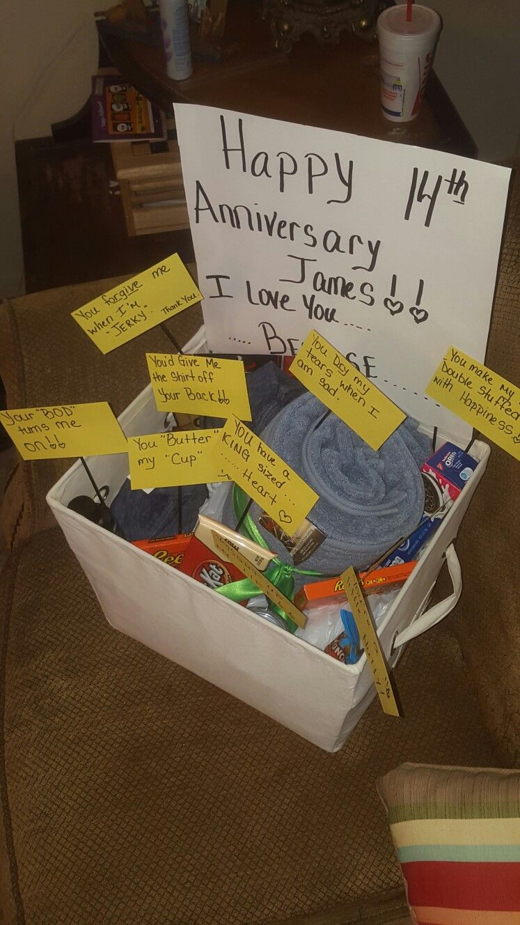 A basket for my husband on our 14th wedding Anniversary