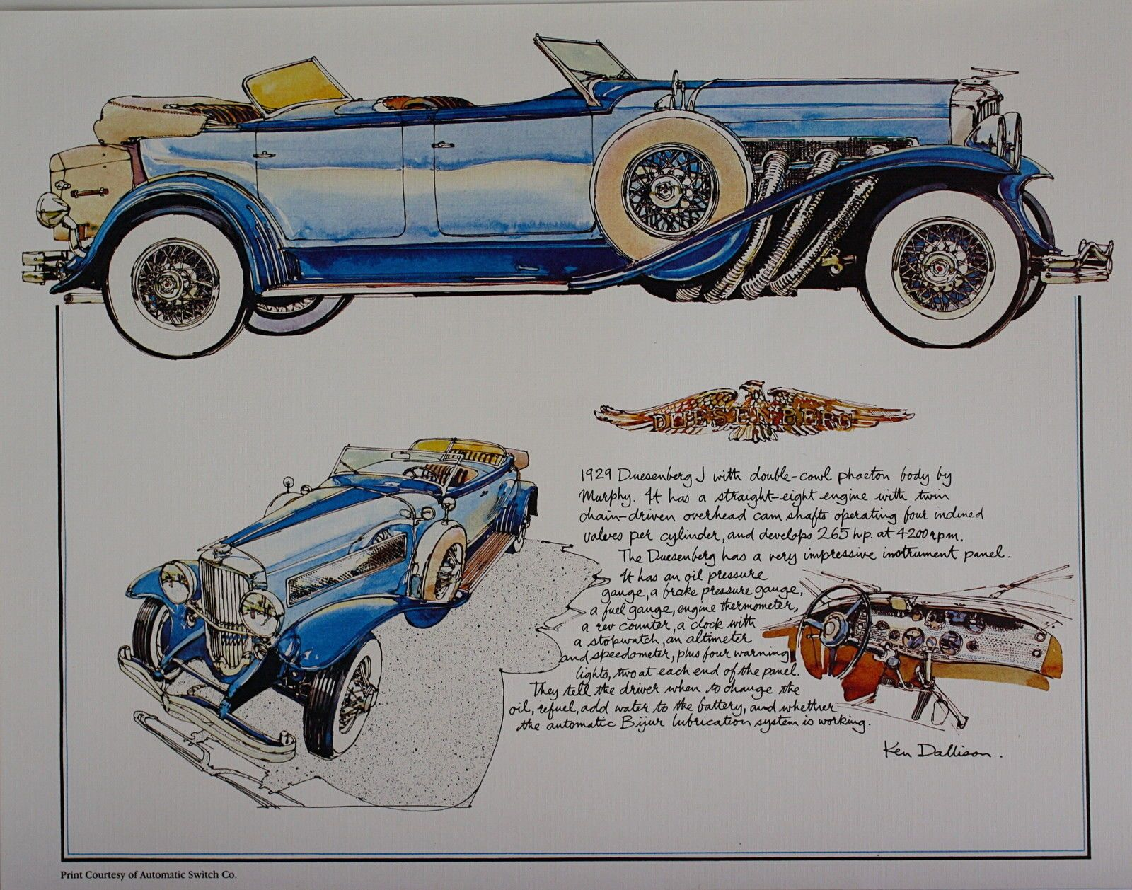 1929 Duesenberg J Classic Car Vintage Print from Asco Collection by ...