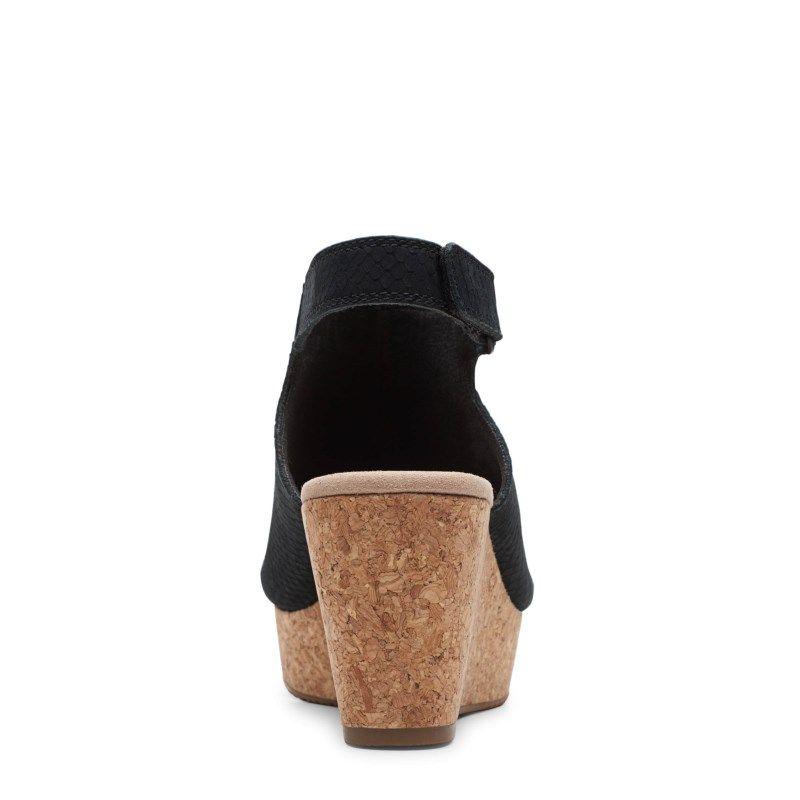 Clarks Women's Annadel Joy Medium/Wide Wedge Sandals (Black Nubuck)