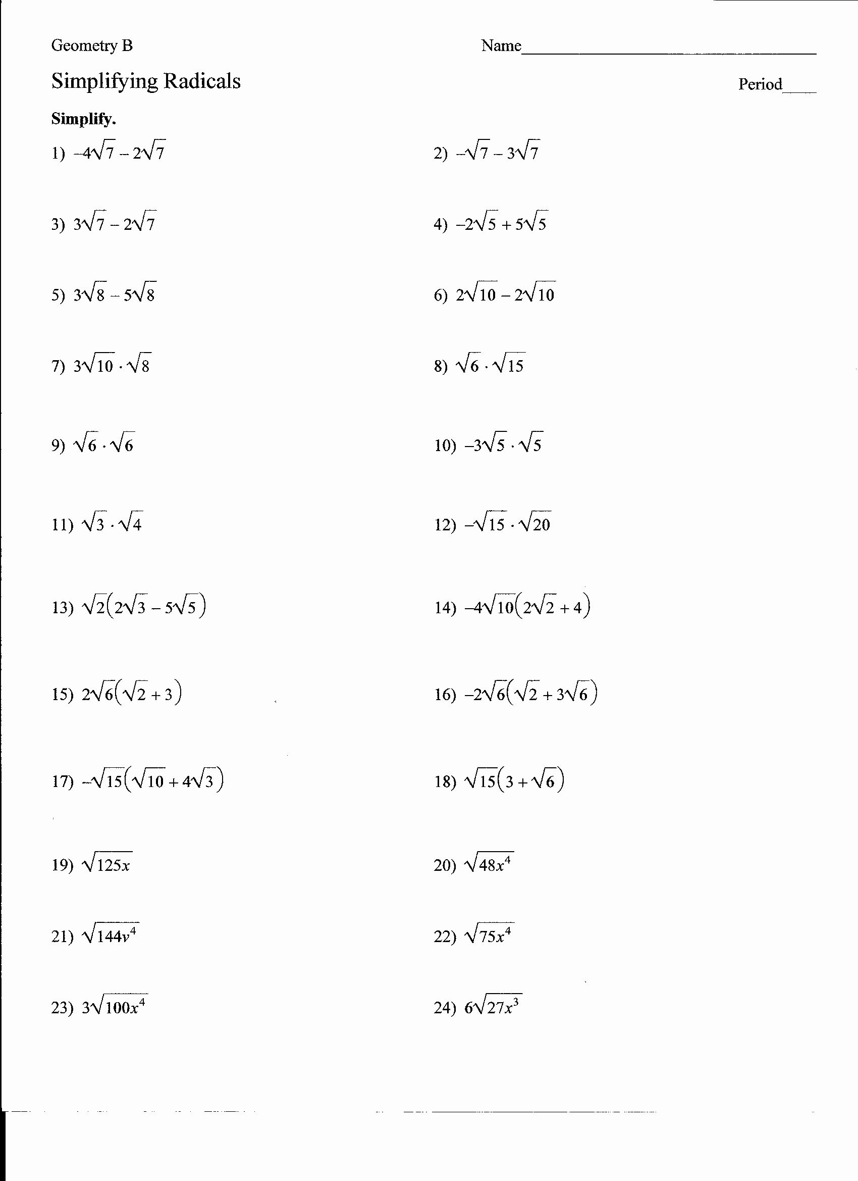 50 Simplifying Radicals Worksheet 1 In
