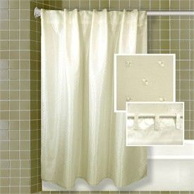 Ivory Serene Mist Embroidered Hook Free Fabric Shower Curtain