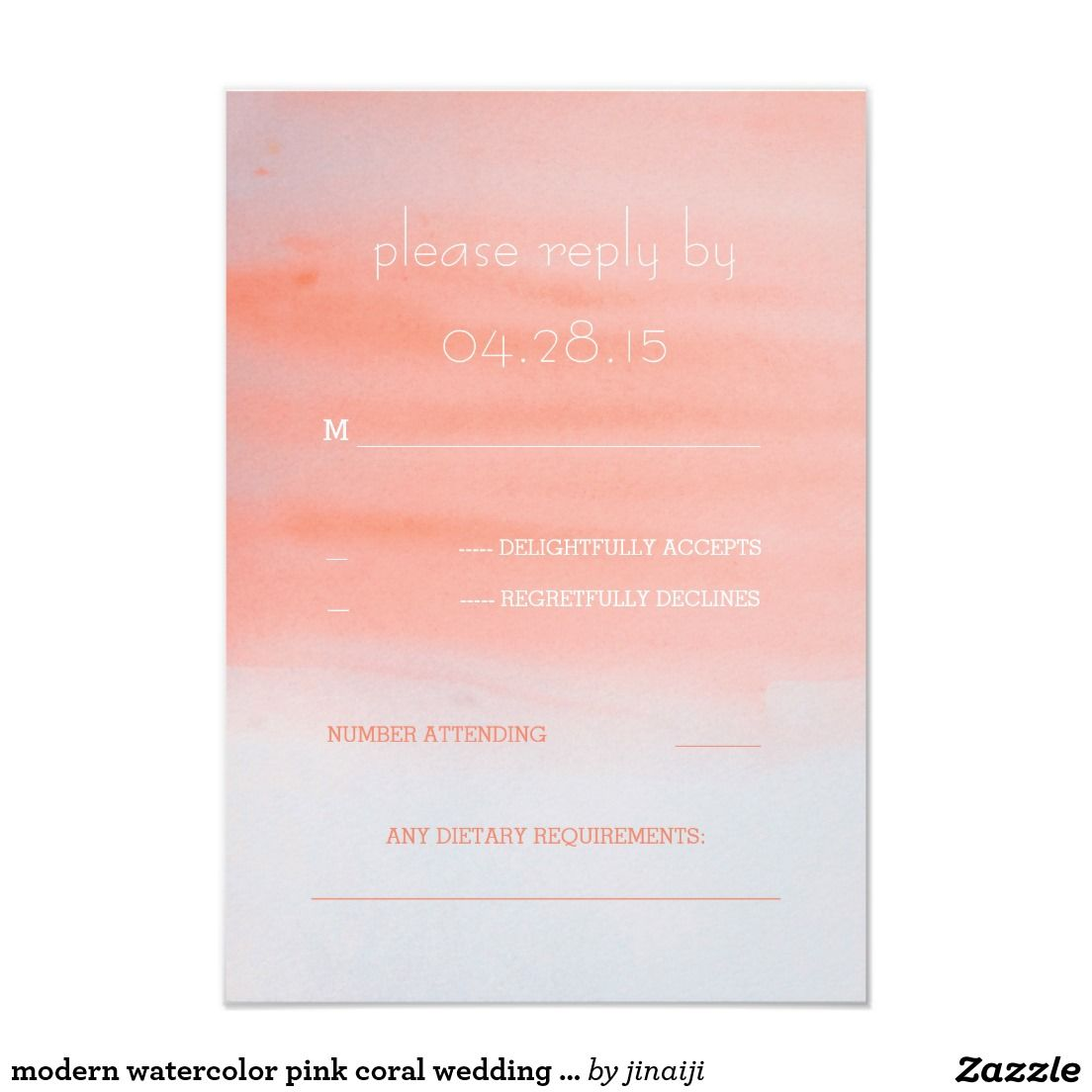 Modern Watercolor Pink Coral Wedding Rsvp Cards Wedding Rsvp