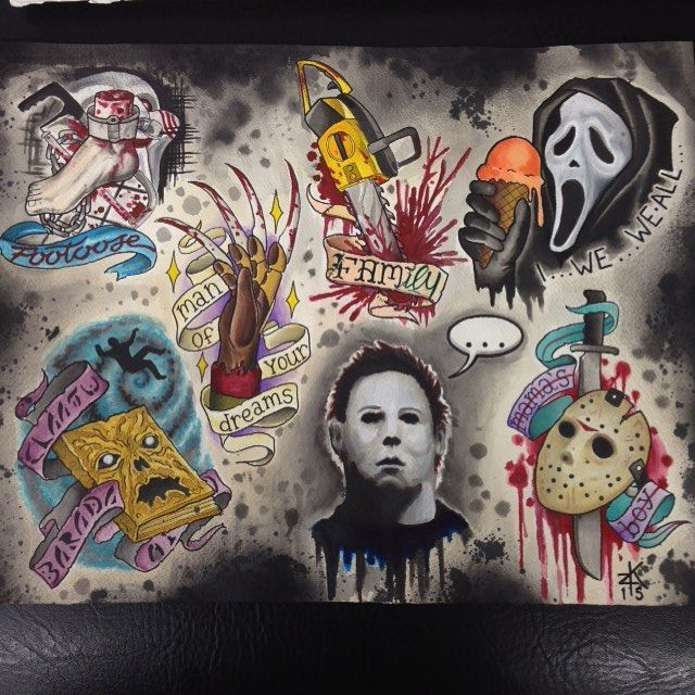 Horror Flash Sheet Google Search Movie Tattoos Horror Tattoo Halloween Tattoos