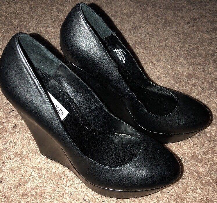 c58e7f0fc7fe Steve Madden Black High Heel Pumps Size 10M Prissy Leather High Heels Womens  VG