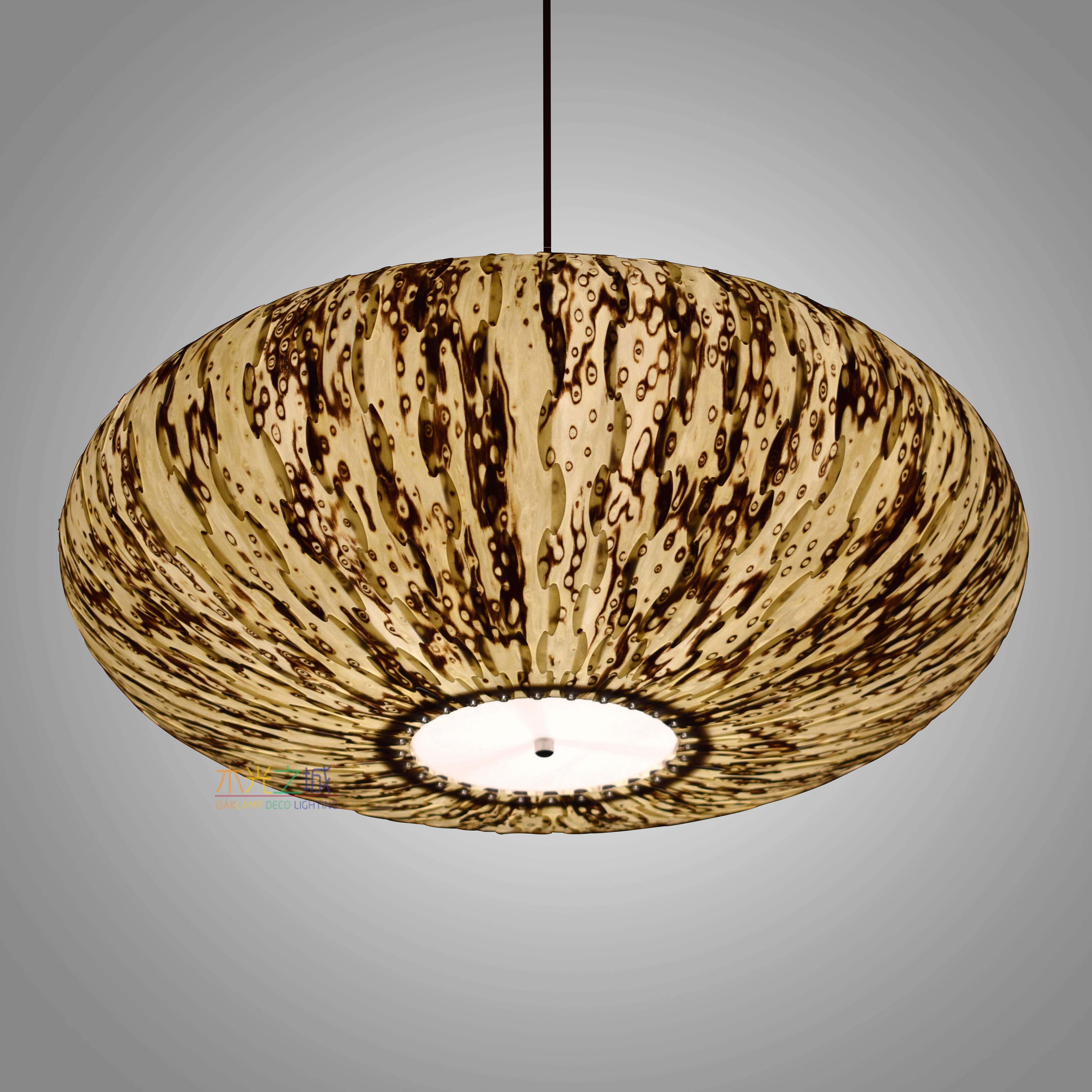 Wood pendant light white ice tree veneer uniquelamps