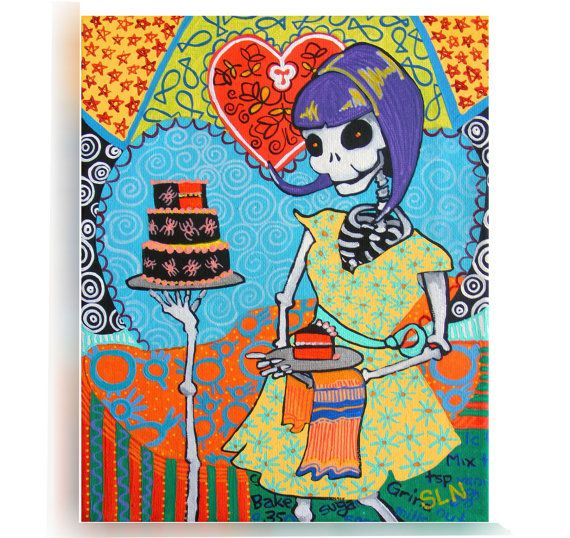 Day Of The Dead Kitchen Wall Art. La Catrina Poster. Mexican Folk Art Decor