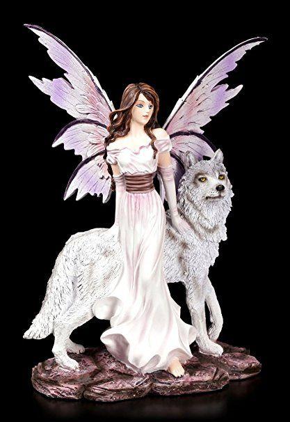Elfen Figur Alari Mit Ihrem Wolf Elfenfigur Feen Fairy Fee Fantasy Deko Elfenfiguren Fee Figuren Fee